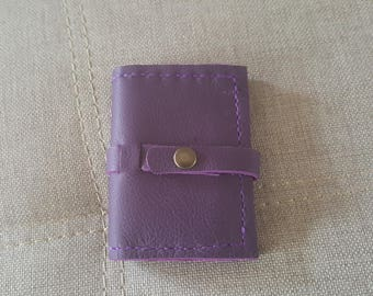 Lilac snap leather card holder