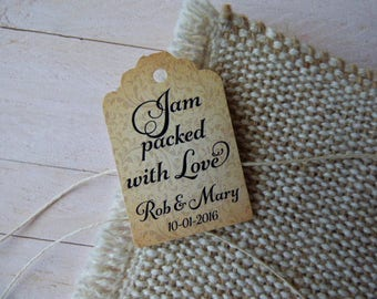 Jam packed with love. Personalized Favor Tags. Jam Wedding Favor Tags. Jam Labels. Set of 25 to 300 pieces, Custom Language available.
