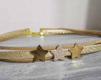 Headband cords Golden beige and stars for girls