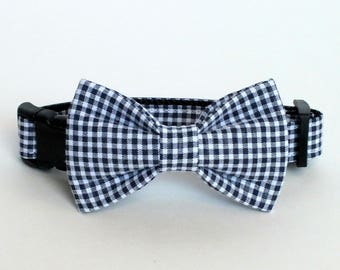 "SALE Size XS 5/8"" Collar an XS Bow Tie, Navy checks Dog Collar Bow Tie set, pet bow tie, collar bow tie, wedding bow tie"