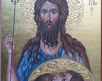 Icon of St John the Baptist, hand painted icon, orthodox gift, iconography