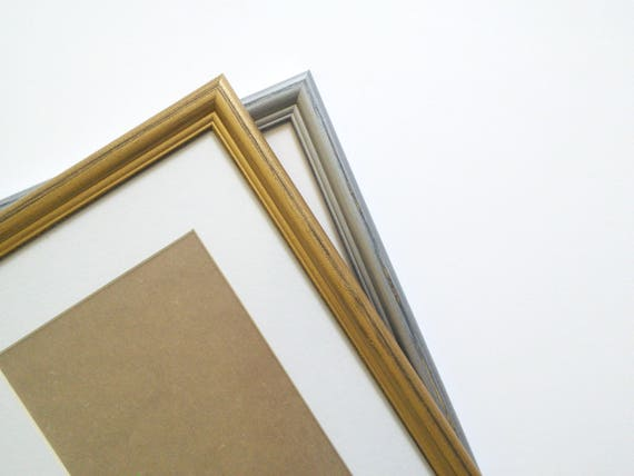 Gold Silver picture frame distressed photo frame 10x12