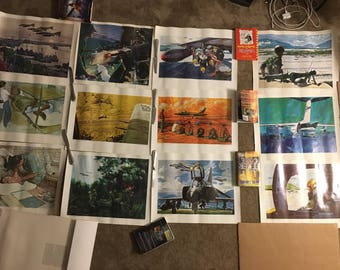 Vintage Set of 12 prints from U.S. Air Forces Art Collection including: Bob McCall, Al Pimsler, A. Sinagra,W. Ishmael,G. Akimoto,M.McCaffrey