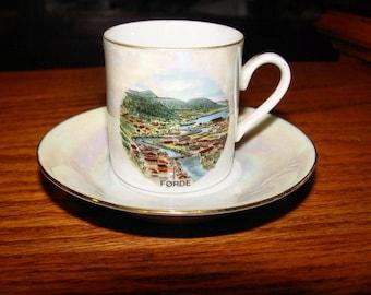 Vintage Souvenir Førde Sogn og Fjordane, Norway ~ Iridescence porcelain teacup, demitasse, saucer