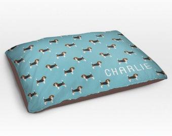Personalized Beagle Dog Bed, Dog Beds, Large Pet Bed, Cute Beagle Dog Duvet, Custom Name Dog Bed Pillow, Dog Gifts for dog