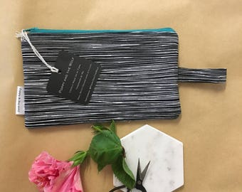 Black and White Static Clutch /  Pencil Case