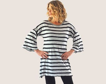 minimalist over size black and gray striped tunic, casual loose top, boho loose tunic, plus size tunic, casual loose tunic, striped shirt