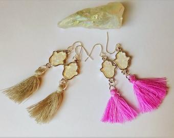Opal Hamsa Earrings, Tassel Earrings, Hamsa Earring, Opal Earrings, Minimal Earrings, Fringe Earrings, Hamsa Hand Earring, Opal Hand Earring