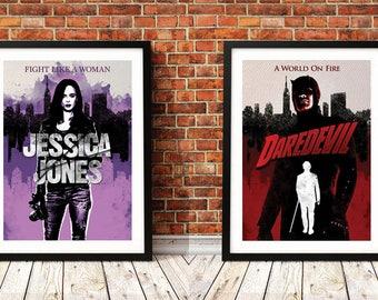 "Jessica Jones and Daredevil Set of 2 Art Prints A3 11.7"" x 16.5"""