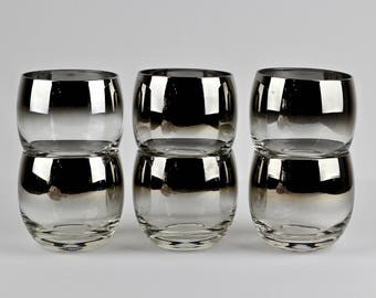 Mid Century Silver Fade Roly Poly Glasses Vitreon Queens Lusterware Set of 6