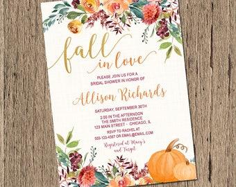 Fall Bridal Shower Invitation, Pumpkin bridal shower invitation, fall wedding shower watercolor flowers fall in love bridal shower printable