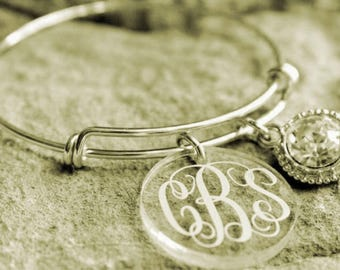Clear Acrylic Disc Bangle Bracelet