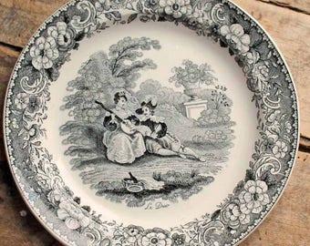 Antique 1830's plate Creil et montereau, French Black White Transferware Plate 'Le Duo', L. Lebeuf montereau