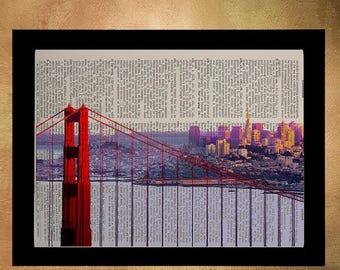 SALE-SHIPS Aug 22- San Francisco Golden Gate Bridge Dictionary Art Print, Bay Ca California Architecture Upcycled Wall Art da560