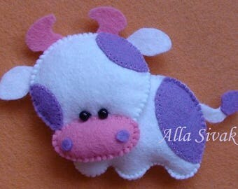 Felt COW ornament, handmande Christmas farmhouse animals, nursery decor Housewarming decoration,  stuffed felt Cow, Cow toy, Farm animals
