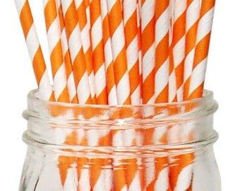 Big Pack 80 Orange Stripe Paper Drinking Straws - Birthday - Halloween - Celebration & Party Supplies