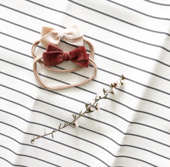 Headband Set- | The Emery Set | Rust and Cream Velvet Dainty Bows
