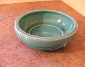 Vintage 1940s Nelson McCoy Pottery Seafoam Green Art Deco Bulb Dish