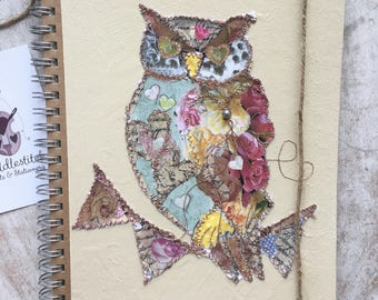 Fiddlestitch Owl Notebook, Owl Gift, Owl Stationery. Lined Notebook.