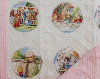 """Alice in Wonderland Blanket, Alice in Wonderland Quilt, Baby cotton quilt, baby playmat, Alice in wonderland nursery, Forty Ravens, 36""""x44"""""""