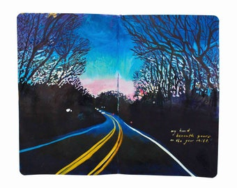 """Fine Art Print of Landscape Painting from Artist Travel Journal – """"The Drive Home"""""""