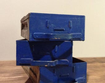 Industrial Metal Drawers / Vintage Blue Painted Metal Storage Bins / Set of 3 Rustic Metal Drawers / Repurpose / Salvage