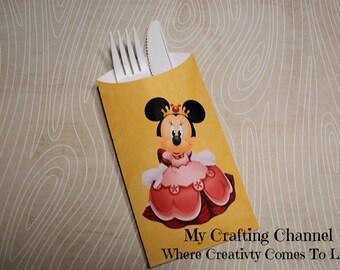 Princess Minnie Mouse #1 Flatware Pouch Sets-Minnie-Minnie Mouse-Silverware Pouch-Flatware Pouch