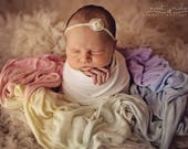 Pastel or Bright Rainbow Baby Wrap - Soft Dyed Multicolor Premium  swaddle posing layer for newborn photography sessions.