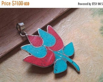 Holiday SALE 85 % OFF Red Coral Pendant Turquoise  Gemstones  . 925 Sterling Silver