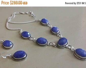 Holiday SALE 85 % OFF Sapphire  Necklace Earrings  Set .925 Sterling  Silver Gemstone