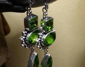 Holiday SALE 85 % OFF Peridot  Earrings Gemstone  .925 Sterling  Silver