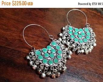 Holiday SALE 85 % OFF Turquoise   Hoop  Sterling silver Earrings Gemstone  .925