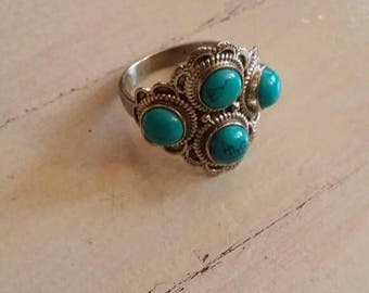 Holiday SALE 85 % OFF Size 9 Turquoise Ring Gemstone. 925 Sterling  Silver