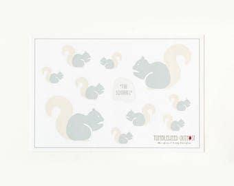 Squirrel Sticker Set: Mountain & Woods Set of 10 Stickers