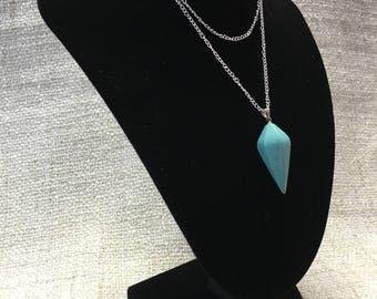 Howlite Reiki Healing Crystal Pendulum Necklace