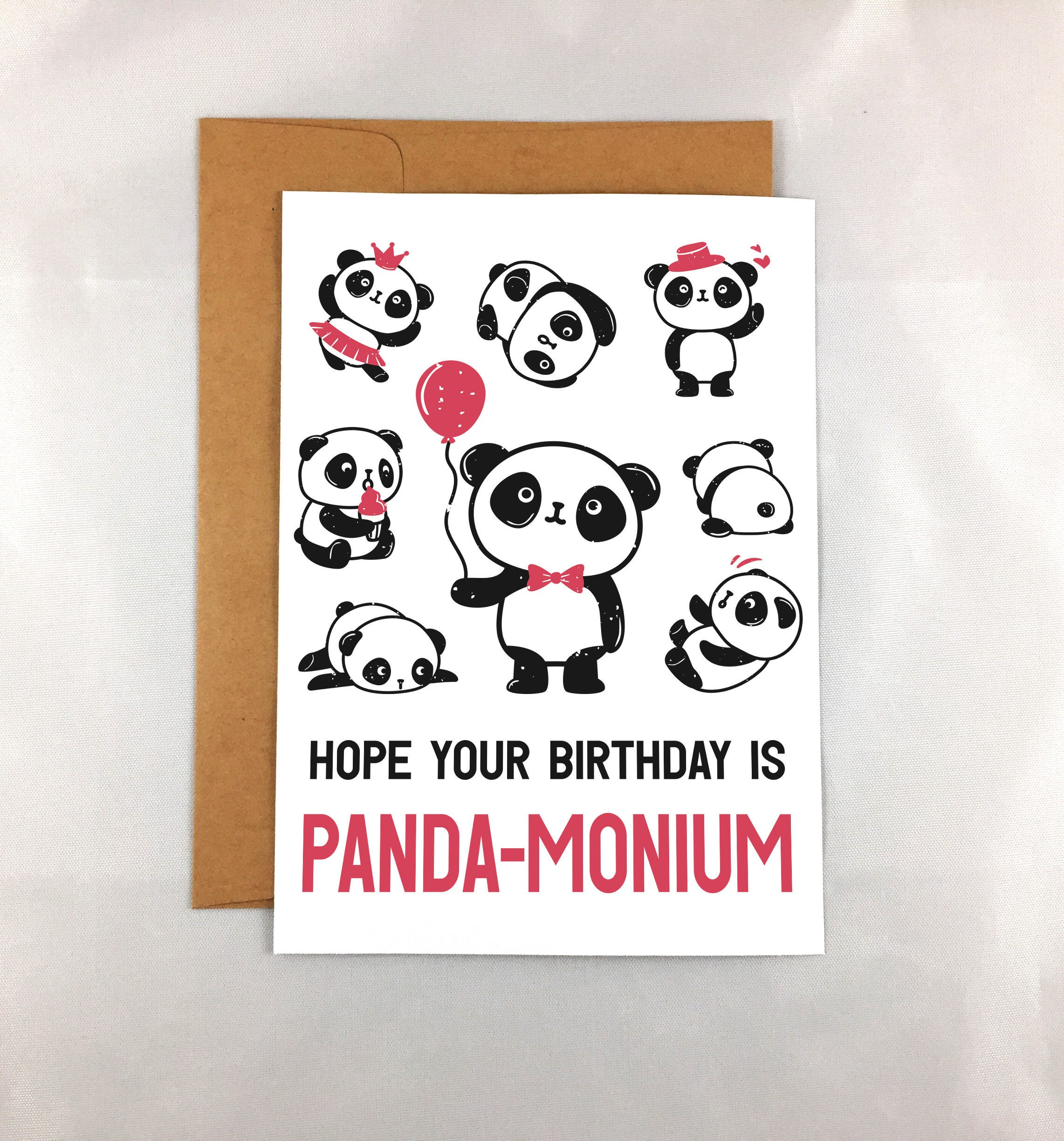 Printable Birthday Card Print At Home Panda Birthday Card