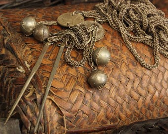 Hmong Handmade Vintage Hair Pin Pendant Necklace Hill Tribe Tribal Ethnic Hippie Boho