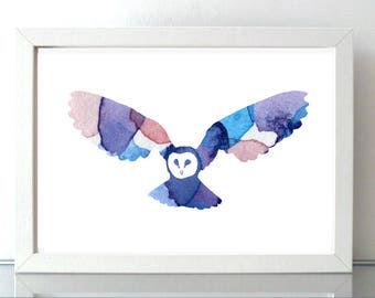 Flying Barn Owl art - barnowl watercolor painting - Art Print - lilac blue decor -  owl illustration - abstract silhouette owl wings