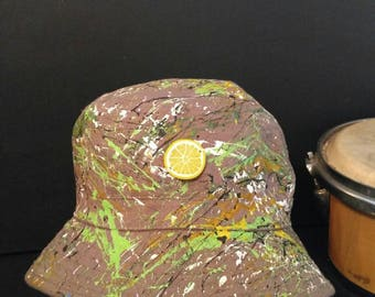 Hand painted wearable abstract art bucket hat size 58cm created in Manchester