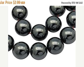 SUPER SALE Black Hematite Stone Beads, 8mm, Round Shape, Gemstone, 20 Pieces