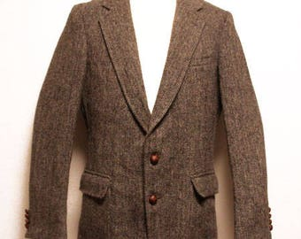 80's vintage Deadstock Harris tweed 2 button tweed jacket made in USA
