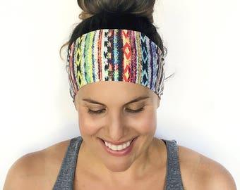 Yoga Headband - Workout Headband - Fitness Headband - Running Headband - Find Your Tribe Print - Boho Wide Headband