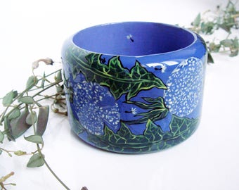 "Hand Painted Wooden Bangle Bracelet "" Dandelions"" - Blue/white Bracelet, Gift For Her, Деревянный браслет с росписью ""Одуванчики"""