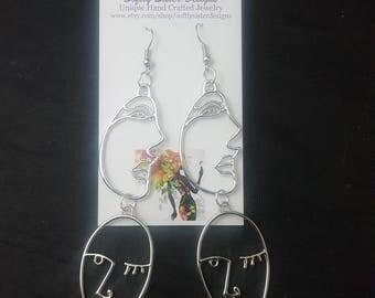 Abstract Faces Earrings, Dangle Earrings