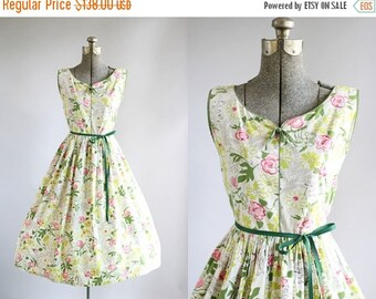 30% Off All Sale..... Vintage 1950s Dress / 50s Cotton Dress / Pink Green and Chartreuse Floral Print Dress w/ Ribbon Waist Tie S