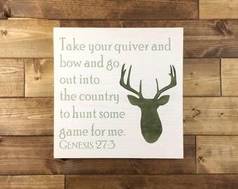Deer Head with Bible Verse Wood Sign, Genesis 27:3, Deer Sign, Deer decor, Cabin decor, Hunting decor, hunting gift, woodland nursery