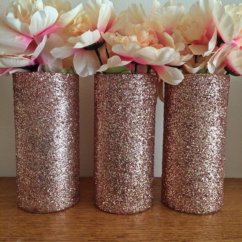 5 Rose Gold Glass Vases Decor Centerpiece Wedding Decorations Bridal Shower Baby Centerpieces