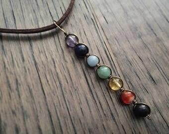 Seven Chakra Pendant - Wire Wrapped Gemstone Pendant Chakra Necklace Silver Gold Brass Meditation Necklace Yoga Necklace Reiki Pendant