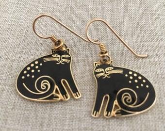 "Laurel Burch Vintage ""Keshire Cat"" Black and Gold Dangle Earrings"