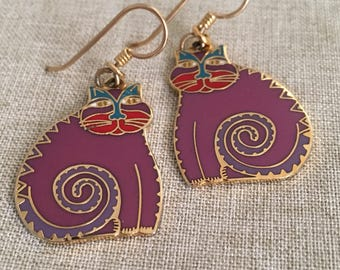 Laurel Burch Purple, Red and Teal ~ Signed Mythical Cats